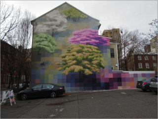 A building has a mural on its side. The mural depicts green, white and pink trees. The background of the mural is rendered in blocks of color